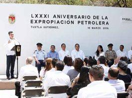 El gobernador Rutilio Escandón Cadenas encabezó el LXXXI Aniversario de la Expropiación Petrolera, donde destacó que el legado de Lázaro Cárdenas debe ser la guía y los principios para servir a la gente
