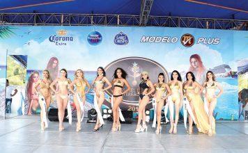 Las participantes del certamen Miss Piel Dorada Internacional 2019, modelaron en traje de baño en Playa Linda.